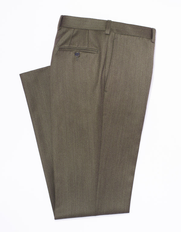 OLIVE WHIPCORD TROUSERS
