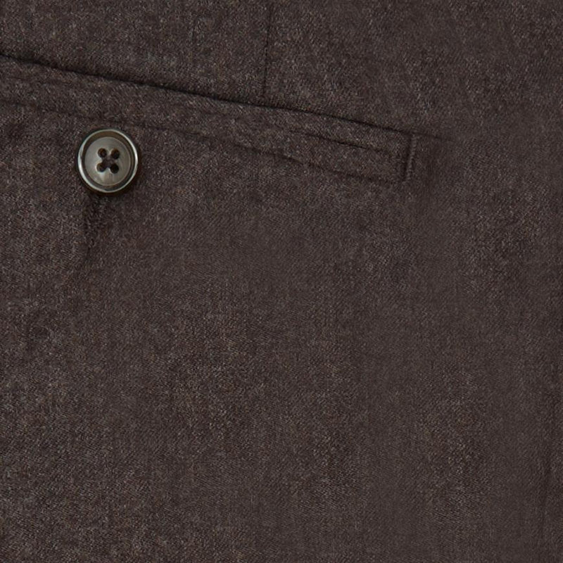 FLANNEL WOOL TROUSERS - BROWN SOLID