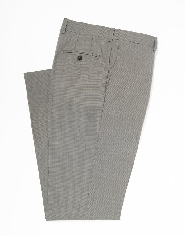 J. PRESS BLACK WHITE CHECK WOOL TROUSERS - CLASSIC FIT