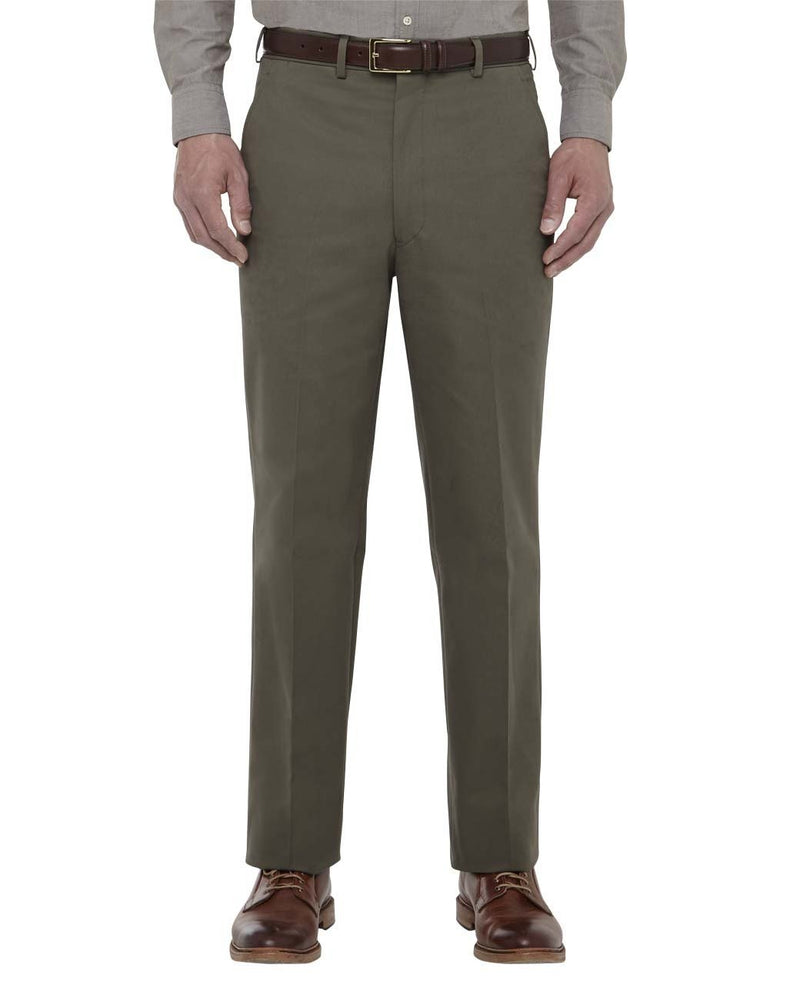 OLIVE COTTON DRILL TROUSERS - CLASSIC FIT