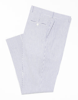BLUE/WHITE SEERSUCKER TROUSERS