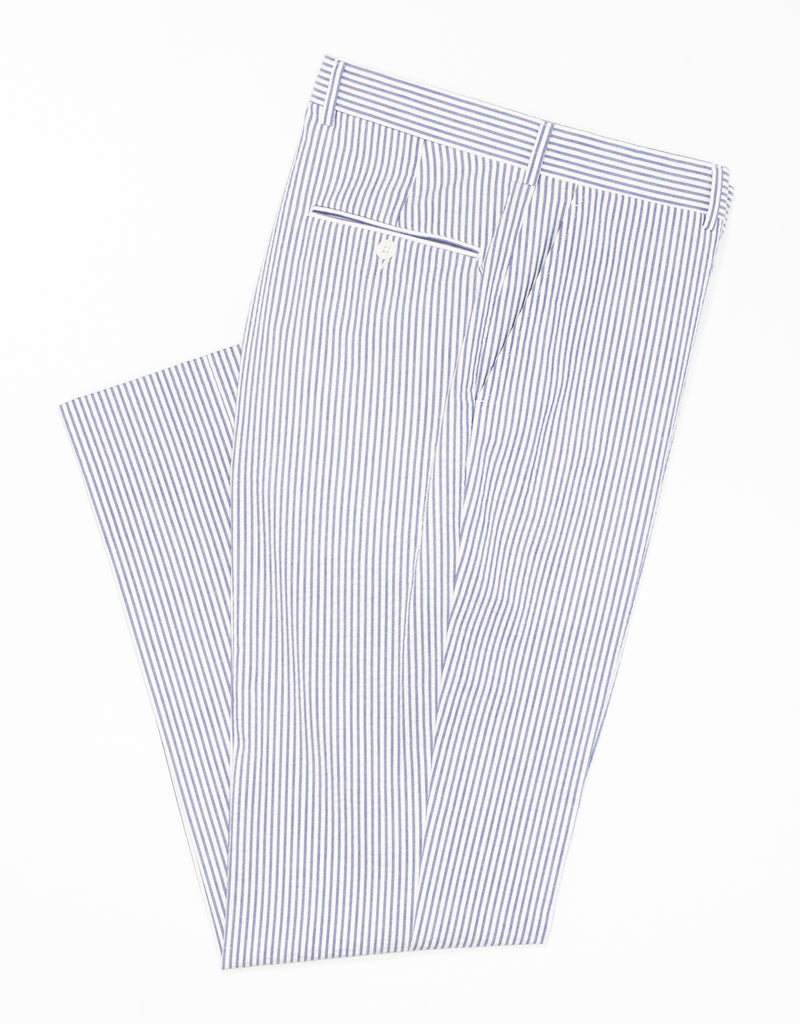 J. PRESS BLUE/WHITE SEERSUCKER TROUSERS