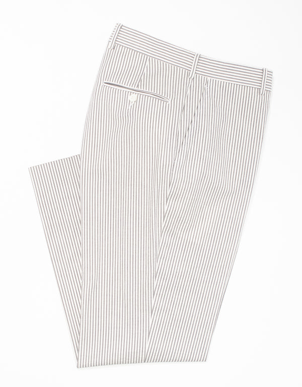 J. PRESS GREY/WHITE SEERSUCKER TROUSERS