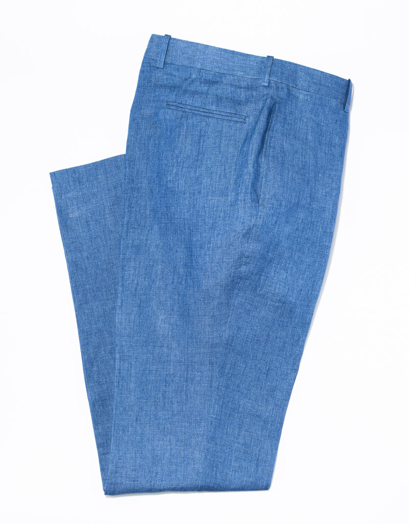 J. PRESS BLUE LINEN TROUSERS