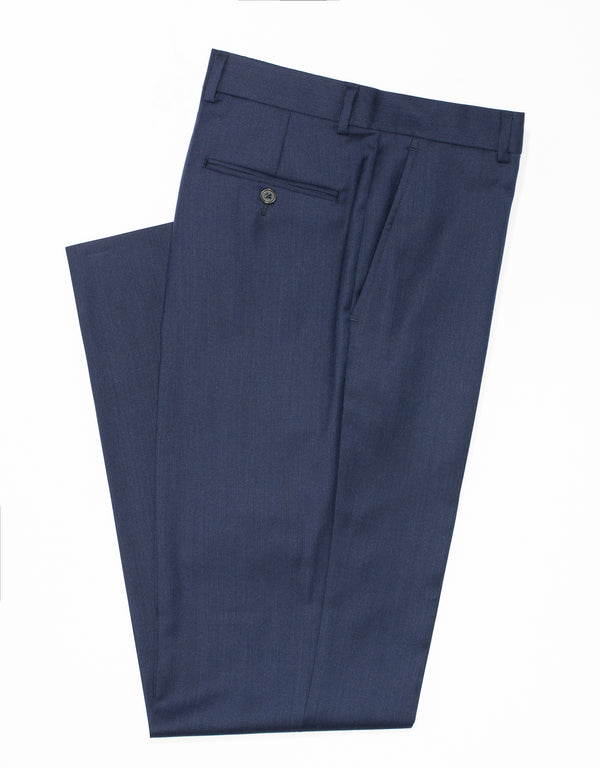DARK BLUE WOOL TWILL TROUSERS - CLASSIC FIT