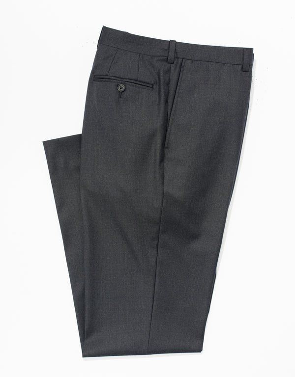 CHARCOAL WOOL TWILL TROUSERS - CLASSIC FIT