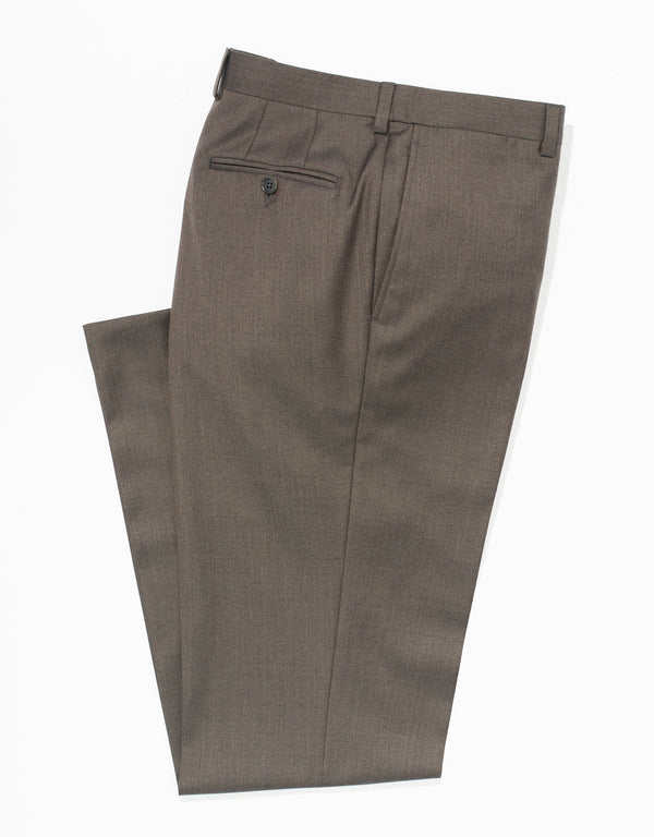 L BROWN WOOL TWILL TROUSERS