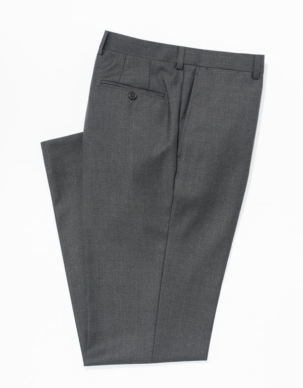J. PRESS MED GREY WOOL TWILL TROUSERS - CLASSIC FIT