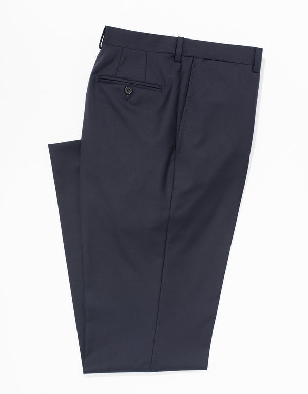NAVY WOOL TWILL TROUSERS - CLASSIC FIT