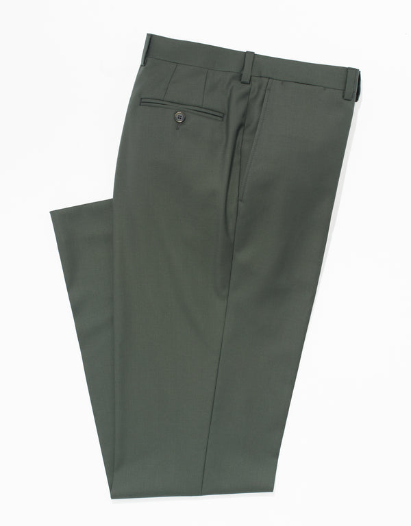 OLIVE WOOL TWILL TROUSERS - CLASSIC FIT
