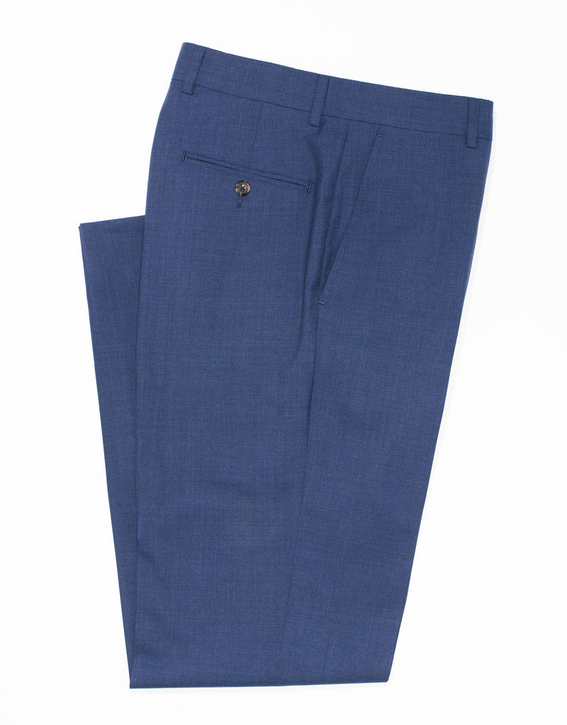 BLUE WOOL TROPICAL TROUSERS
