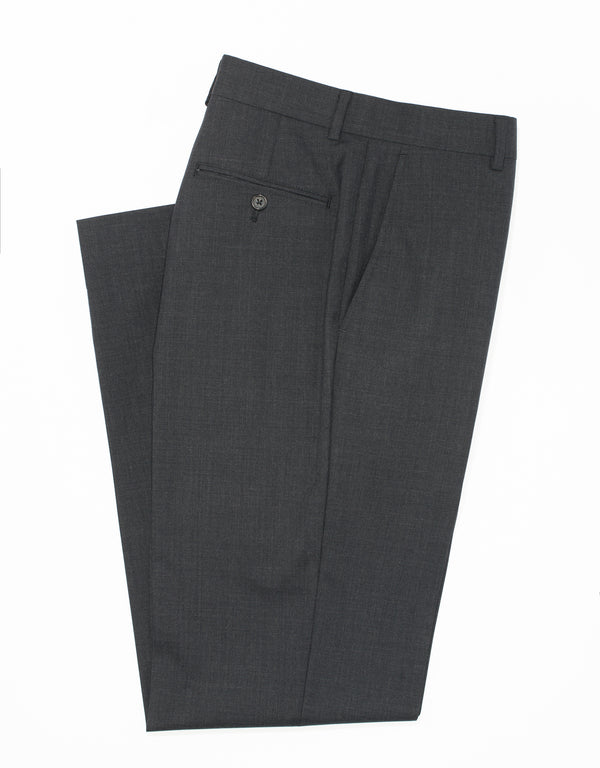 CHARCOAL WOOL TROPICAL TROUSERS