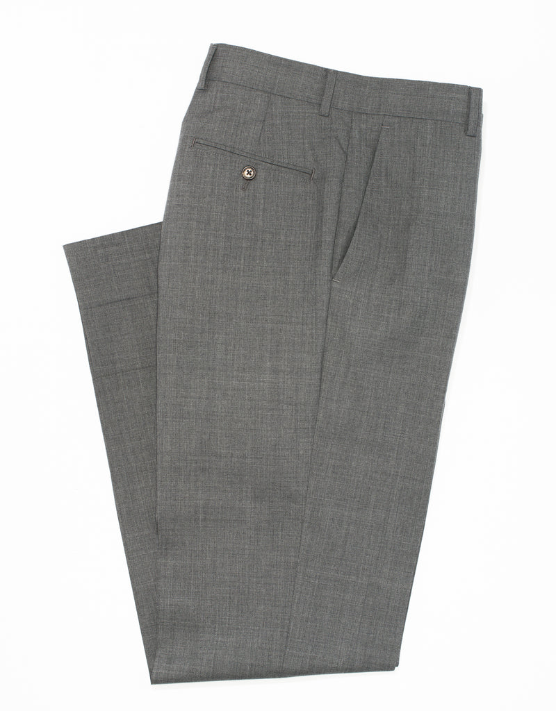 J. PRESS GREY WOOL TROPICAL TROUSERS - CLASSIC FIT