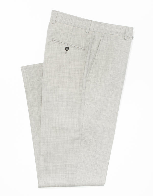 LIGHT GREY WOOL TROPICAL TROUSERS