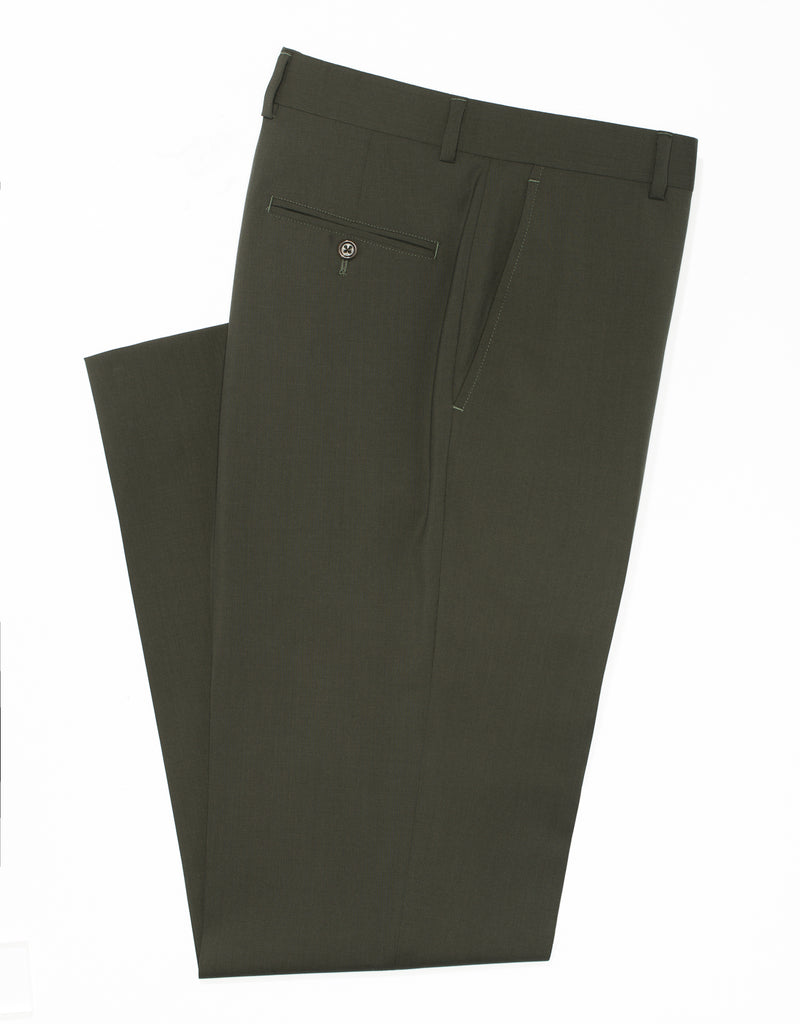 OLIVE WOOL TROPICAL TROUSERS