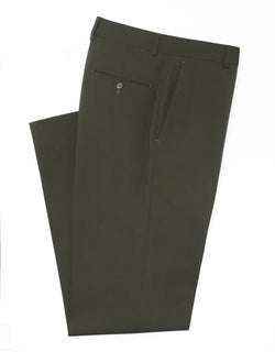 J. PRESS OLIVE WOOL TROPICAL TROUSERS - CLASSIC FIT