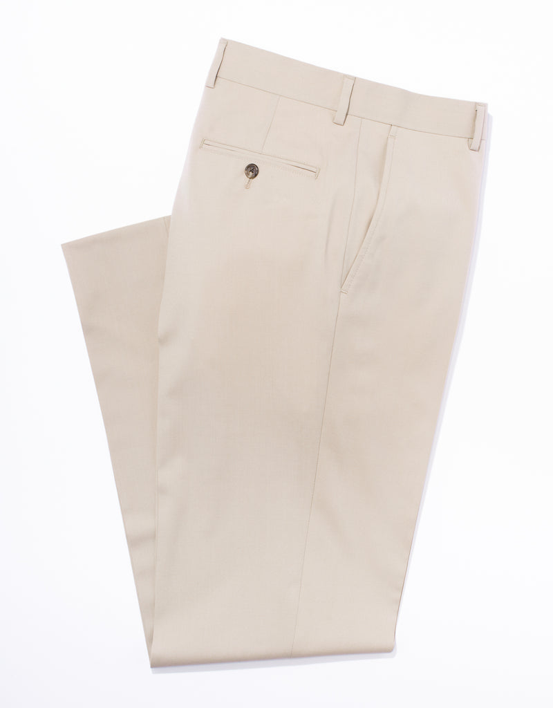 TAN WOOL TROPICAL TROUSERS