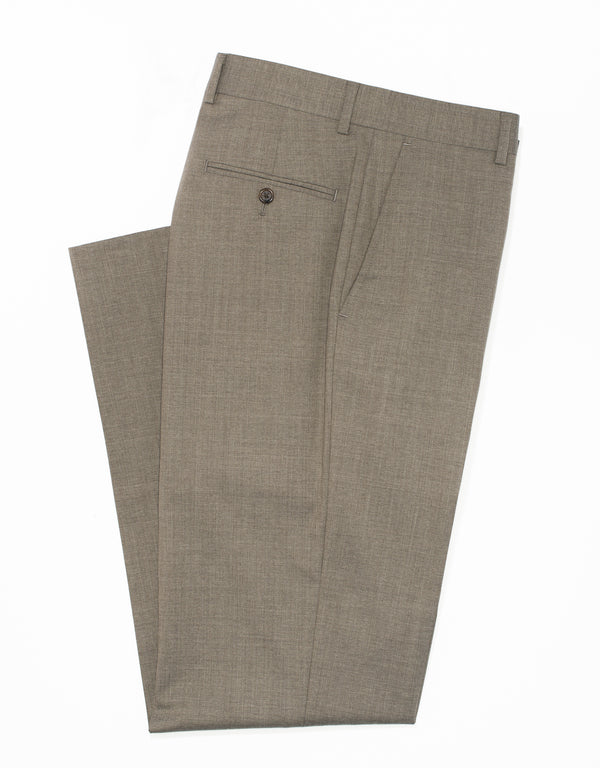J. PRESS LIGHT BROWN WOOL TROPICAL TROUSERS - CLASSIC FIT