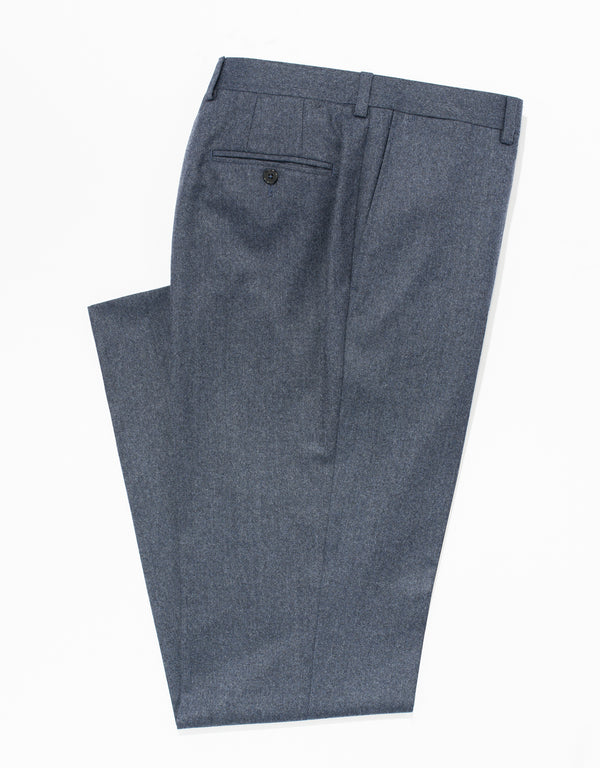 BLUE WOOL FLANNEL TROUSERS - CLASSIC FIT
