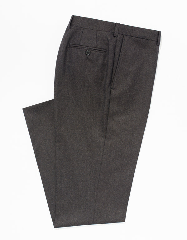 BROWN WOOL FLANNEL TROUSERS - CLASSIC FIT