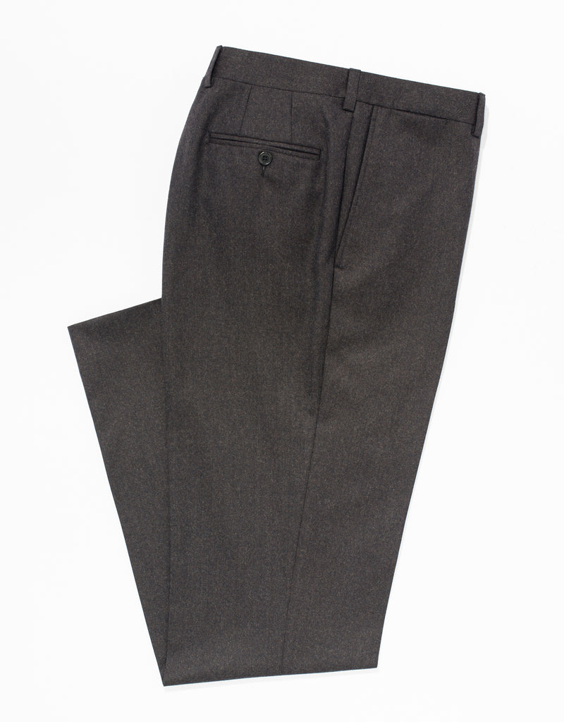 BROWN WOOL FLANNEL TROUSERS