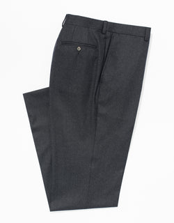 CHARCOAL WOOL FLANNEL TROUSERS