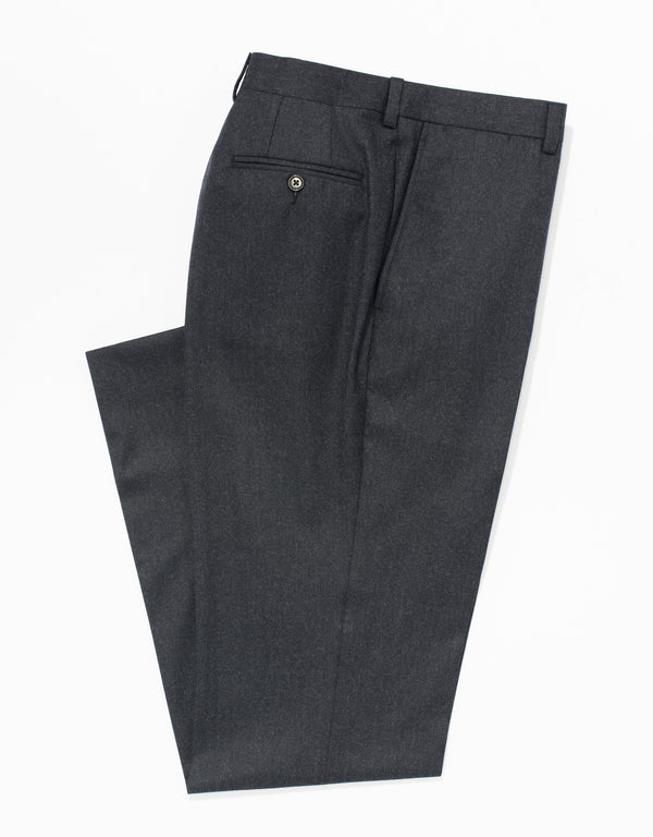 CHARCOAL WOOL FLANNEL TROUSERS - CLASSIC FIT