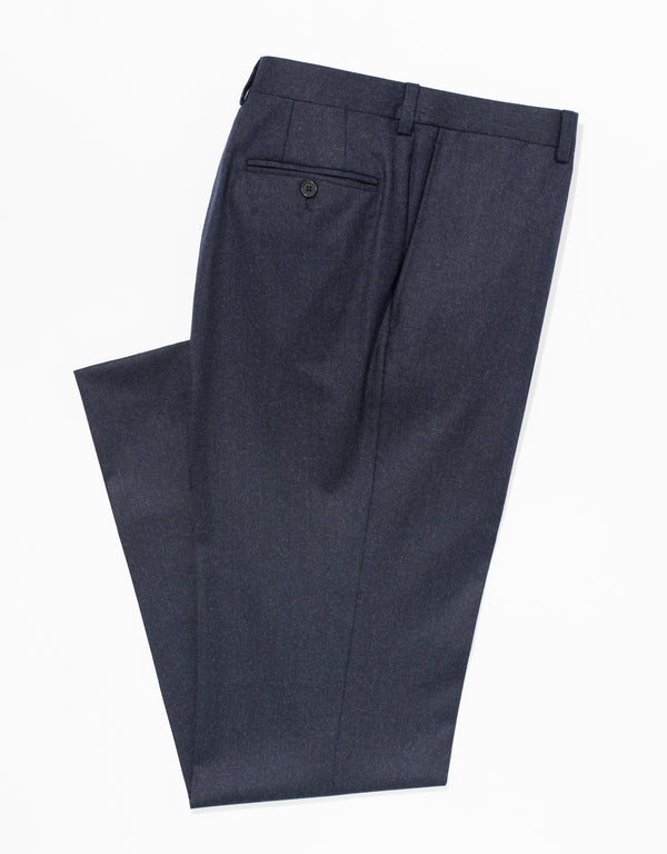 DK BLUE WOOL FLANNEL TROUSERS - CLASSIC FIT