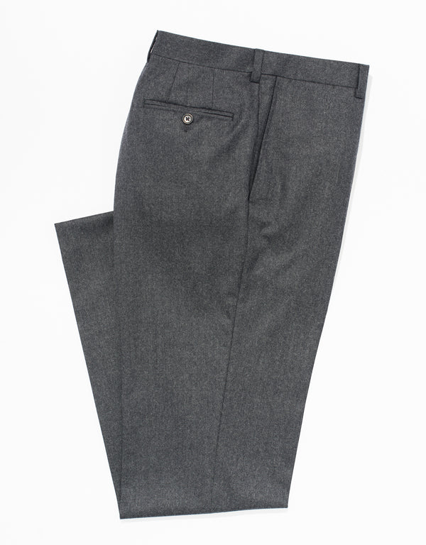 MED GREY WOOL FLANNEL TROUSERS - CLASSIC FIT