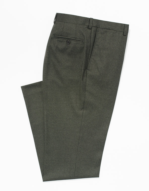 OLIVE WOOL FLANNEL TROUSERS - CLASSIC FIT