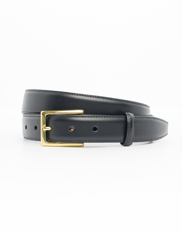 BLACK WITH GOLD ITALIAN LEATHER BELT