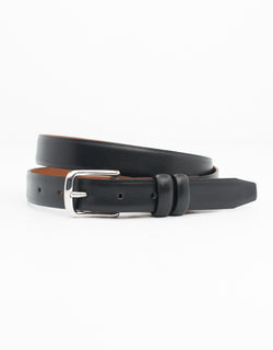 BLACK WITH SILVER ITALIAN LEATHER BELT - 1""
