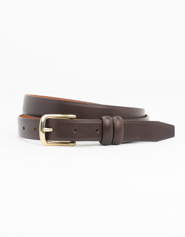 BROWN WITH GOLD ITALIAN LEATHER BELT - 1""