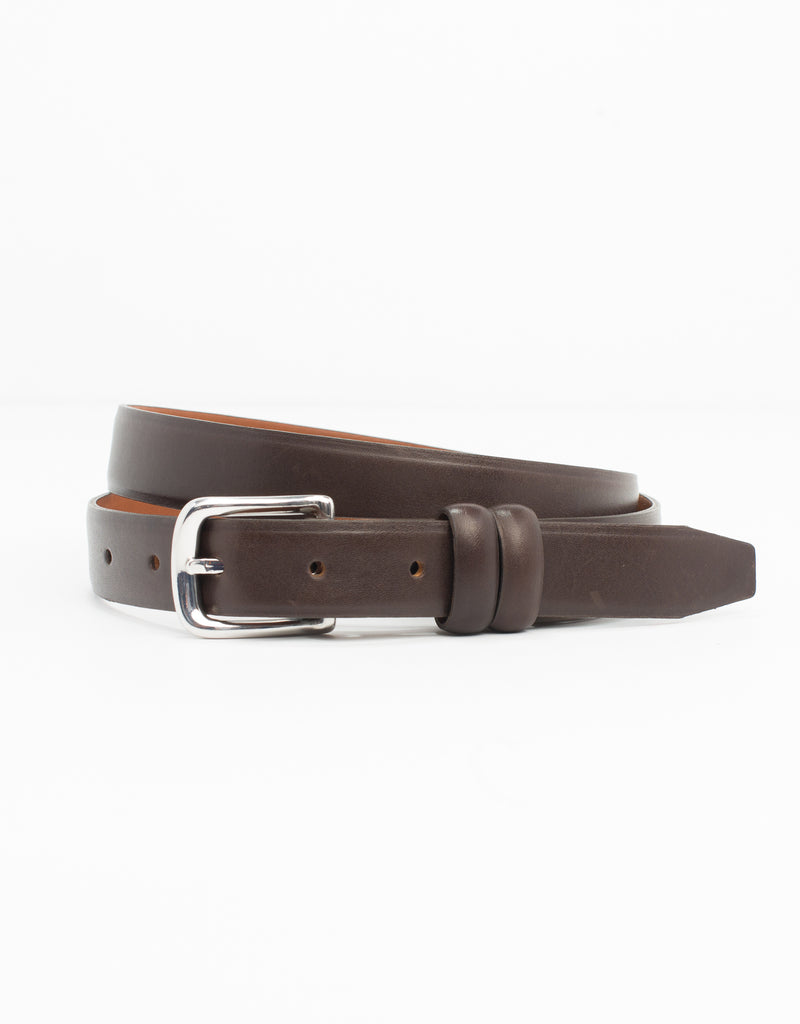 BROWN WITH SILVER ITALIAN LEATHER BELT - 1""