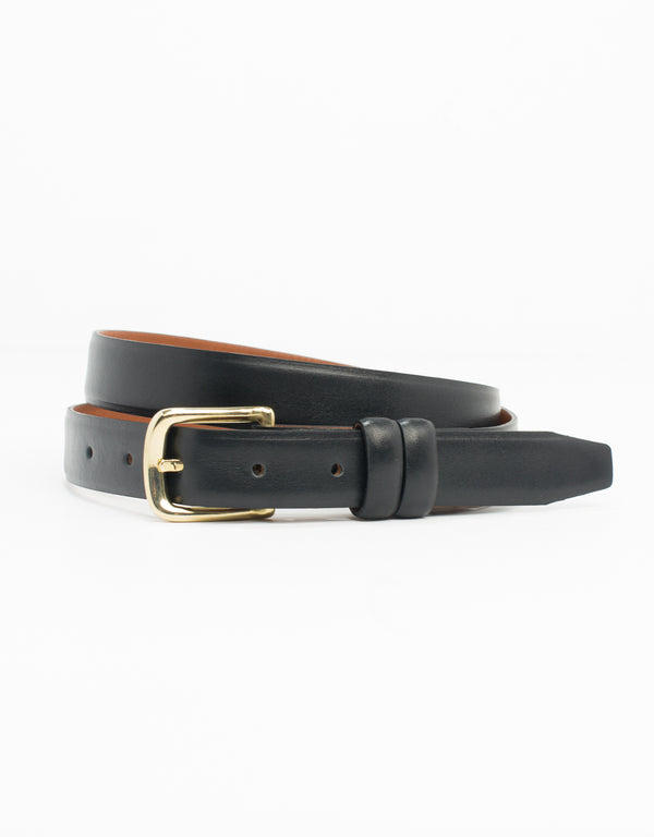 BLACK WITH GOLD ITALIAN LEATHER BELT - 1""