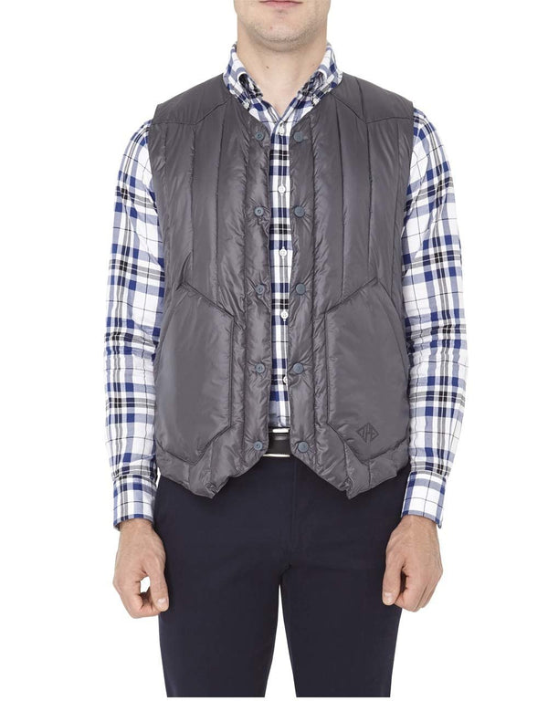 NYLON QUILTED VEST - CHARCOAL