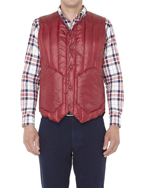 NYLON QUILTED VEST - RED