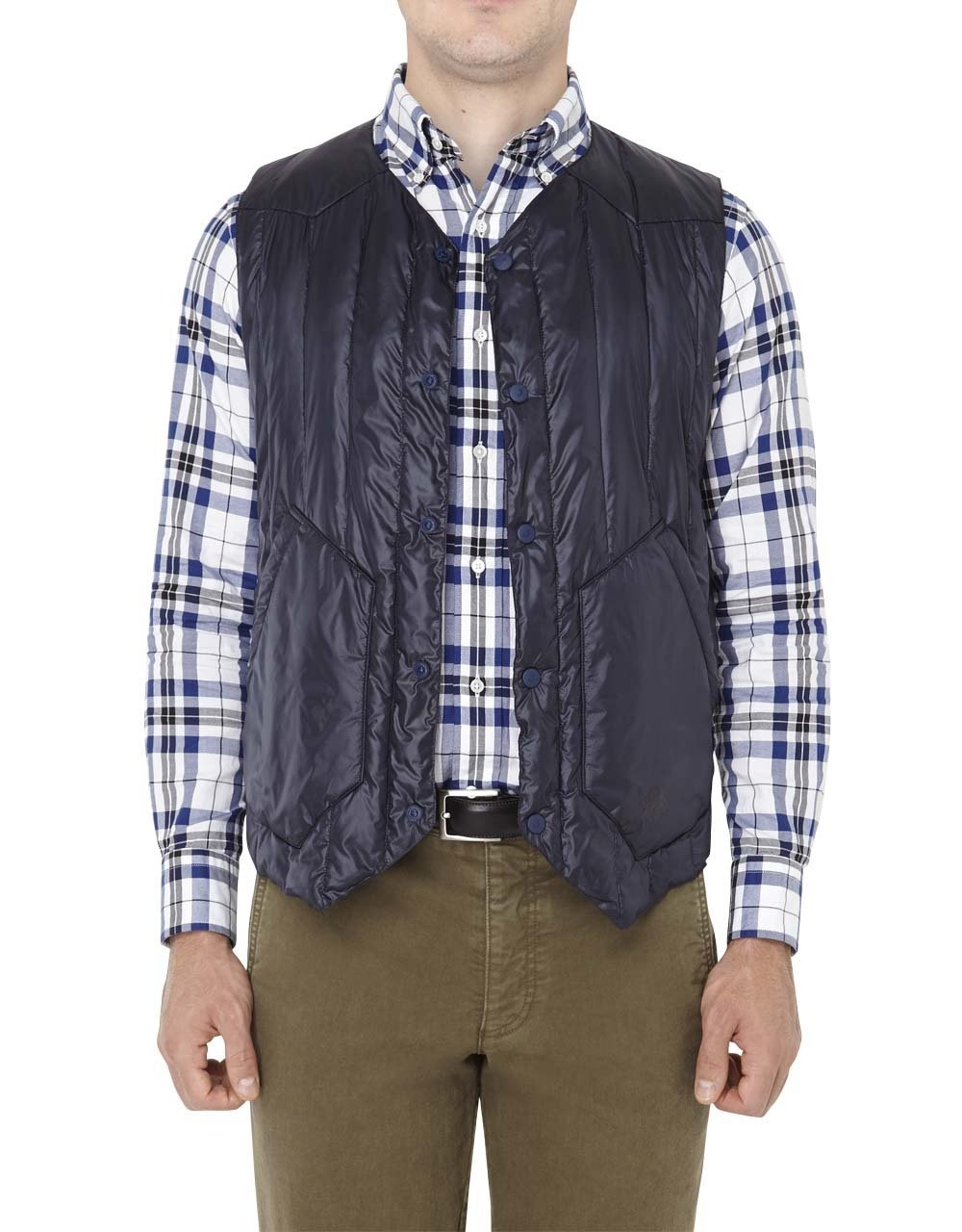 NYLON QUILTED VEST-NAVY