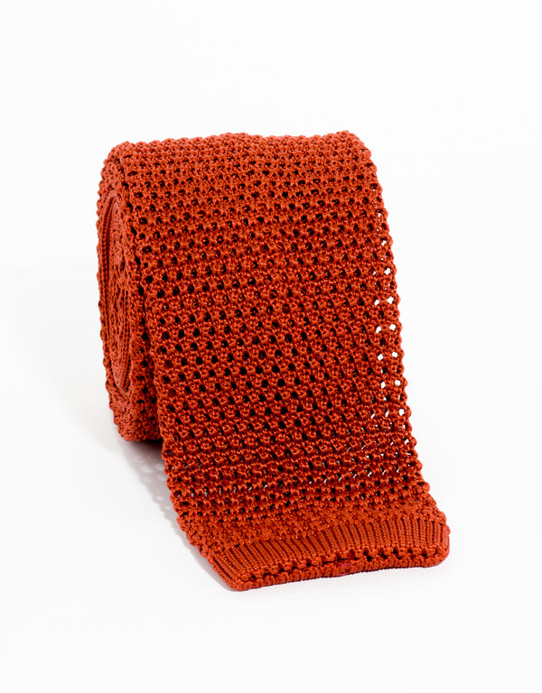 SOLID KNIT TIE - RUST
