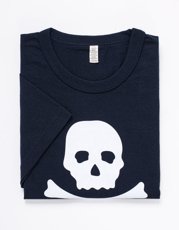 SHORT SLEEVE CREW NECK SKULL AND BONE T SHIRT - NAVY