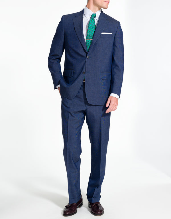 J. PRESS BLUE HAIRLINE WOOL SUIT