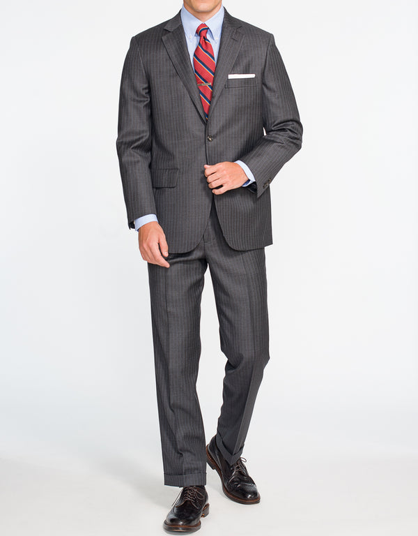 GREY SHARKSKIN STRIPE SUIT - CLASSIC FIT