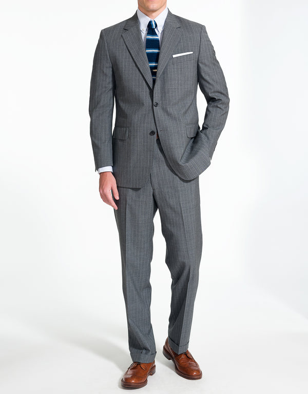 J. PRESS GREY BEAD STRIPE SUIT