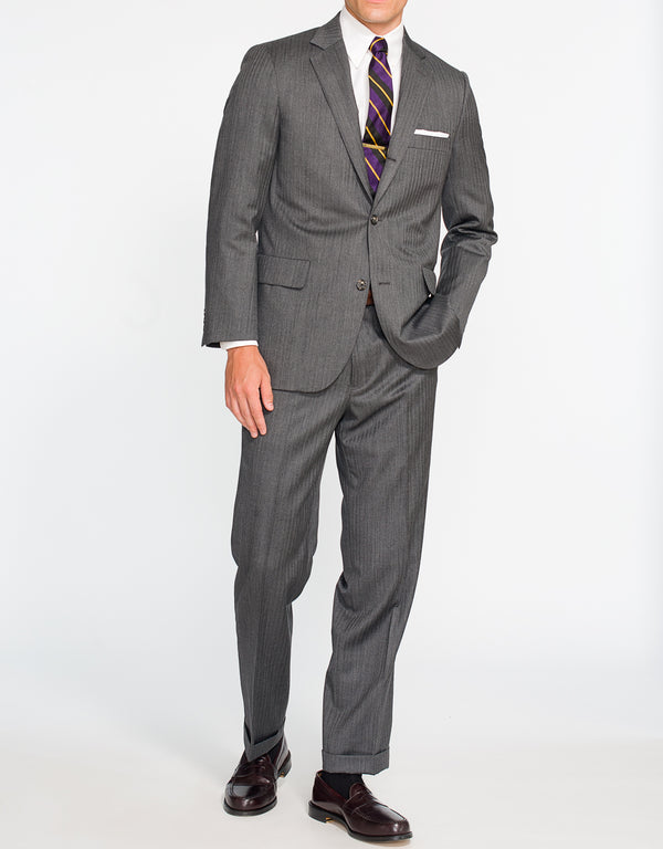GREY HERRINGBONE SUIT - CLASSIC FIT