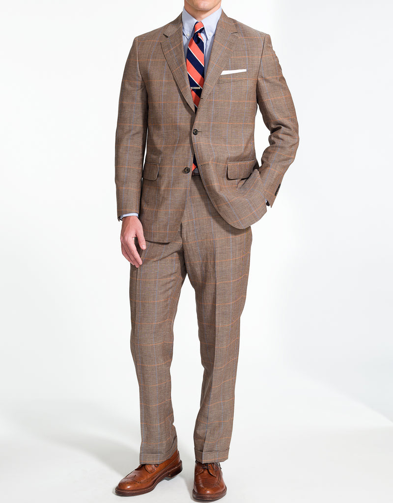 J. PRESS LIGHT BROWN PLAID SUIT