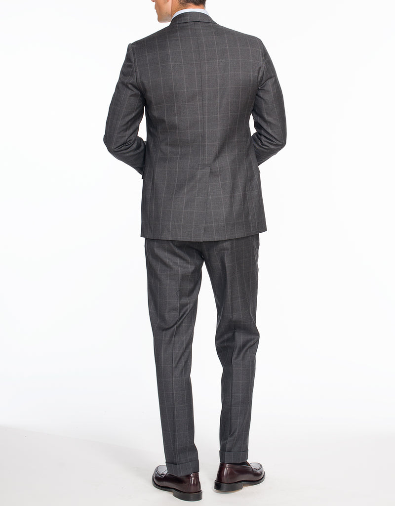 CHARCOAL WINDOWPANE 2-BUTTON SUIT
