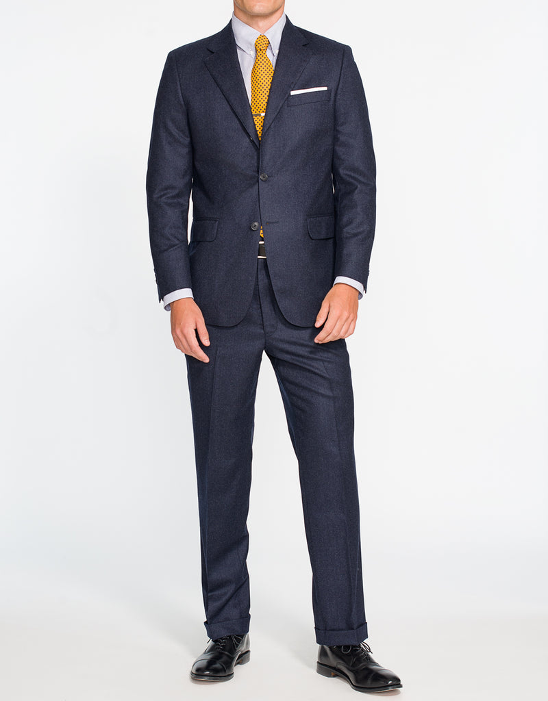 SOLID NAVY FLANNEL SUIT - CLASSIC FIT