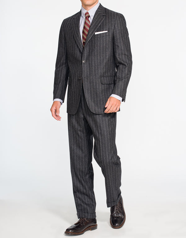 CHARCOAL CHALK STRIPE FLANNEL SUIT - CLASSIC FIT