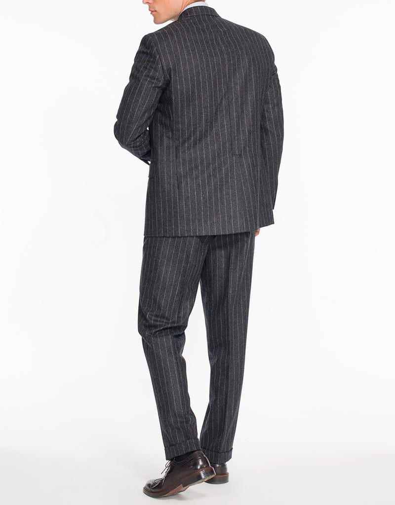 CHARCOAL CHALK STRIPE FLANNEL SUIT