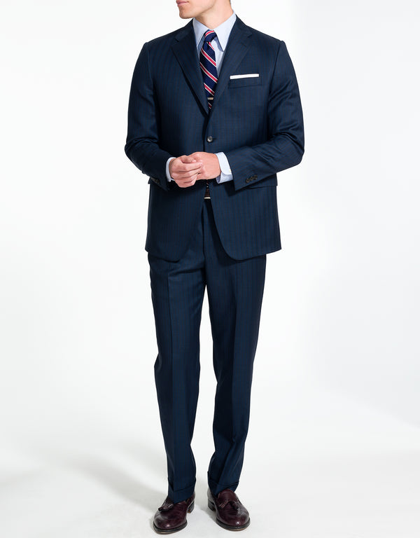 J. PRESS NAVY WITH BLUE STRIPE SUIT
